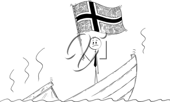 Cartoon stick drawing conceptual illustration of politician standing depressed on sinking boat waving the flag of Kingdom of Norway.
