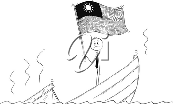 Cartoon stick drawing conceptual illustration of politician standing depressed on sinking boat waving the flag of Republic of China or Taiwan.