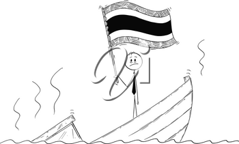 Cartoon stick drawing conceptual illustration of politician standing depressed on sinking boat waving the flag of Kingdom of Thailand.