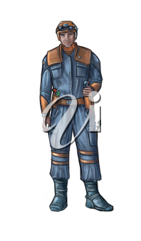 Concept art digital painting or illustration of technician wearing science fiction futuristic design of working suit or overalls and hard hat or safety helmet.