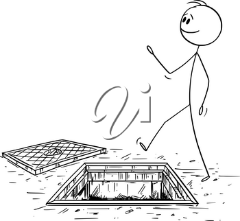 Vector cartoon stick figure drawing conceptual illustration of careless man or businessman walking on the street ignoring exposed manhole or hole on the ground. Business risk and fall concept.