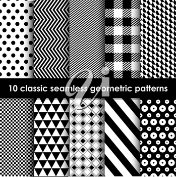 Geometric patterns. Set of 10 monochrome classic seamless patterns. May be used as background, backdrop, invitation card etc.