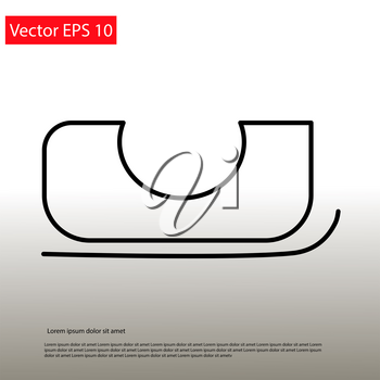 Santa Sledge simple line icon. Vector EPS 10