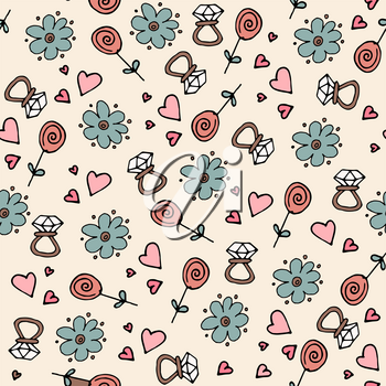Love symbols Seamless pattern. Hand drawn doodles Vector illustration. Happy Valentine s day.