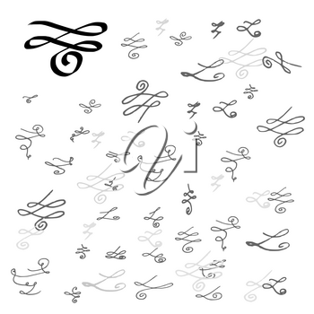 Collection of handdrawn swirls and curles. Unique romantic design element for wedding cards, in invitations and save the date cards.