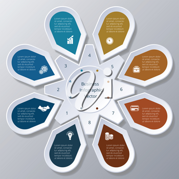 Business Infographic eight Points arranged in circle gear