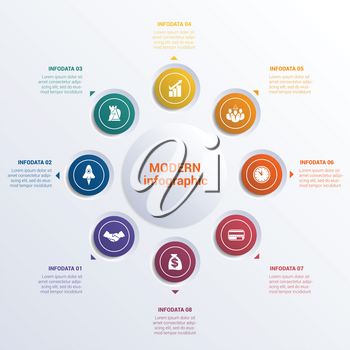 Infographic template eight option circles  banner what can be used as business presentation,chart, diagram, table, workflow layout