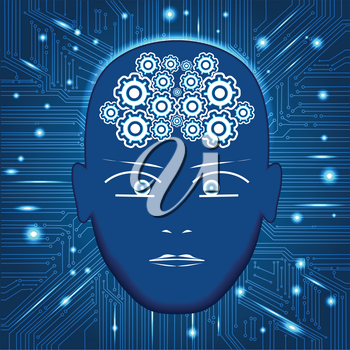 Head, gears in form of brain,circuit board background with glowing lines with dots, concept of thinking, visualization of human thinking.