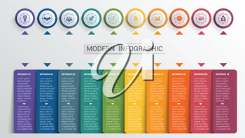 Infographics design template, color buttons and numbered 10 plates shapes, modern website template.