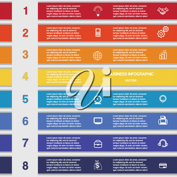 Eight colour strips, template infographics for business conceptual cyclic processes , workflow, banner, diagram, web design, timeline, area chart
