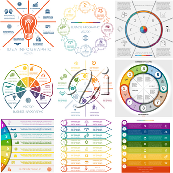 Set 9 templates. Infographics for business conceptual cyclic processes. Eight  positions possible to use for workflow, banner, diagram, web design, timeline, area chart