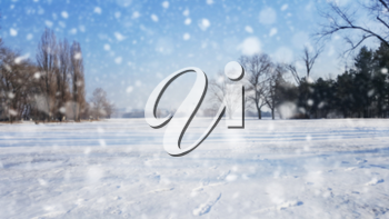 Christmas Snow Background With Falling Snow and Flakes