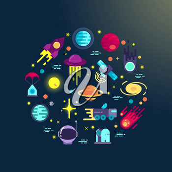 Space abstract background with flat space icons in circle composition. Space exploration infographic element