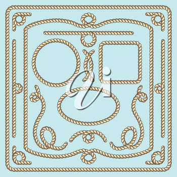 Rope frame, knots and corners. Rope nautical, rope strong, rope loop, marine rope. Vector illustration decorative elements