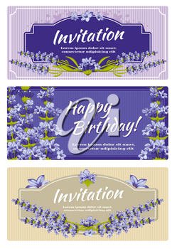 Greeting card, wedding invitation vector template with lavender flowers. Greeting invitation card for wedding and card template with flower lavender illustration