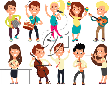 Schoolkids playing music on stage. Children musicians performing music show. Musical guitar and musician, playing and performance concert. Vector illustration