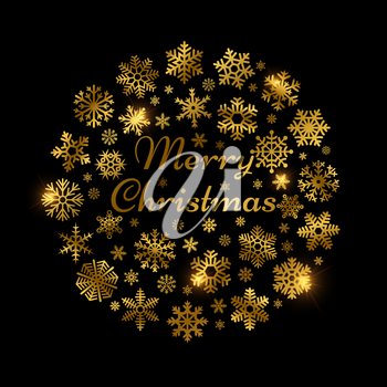Christmas shine effect decoration with gold snowflakes. Holidays card template vector design. Illustration of gold snowflake shine, golden celebration glow