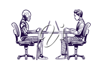 Robot vs man. Human humanoid robot work with laptops at desk. Artificial intelligence, employees replacement sketch vector concept. Illustration of robot vs man, human and ai technology