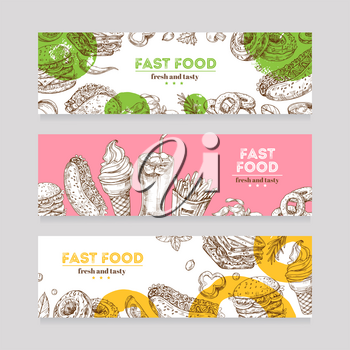 Fast food banners. Sketch burger, pizza, and snack, sandwich, ice cream and chips. Fast food restaurant horizontal advertising banners. Fast food hamburger, pizza lunch illustration