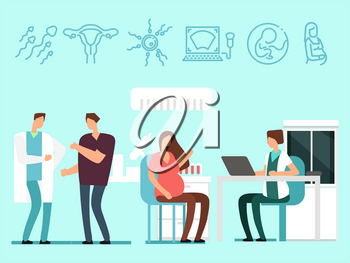 Young future parents have visit to doctors. Pregnant woman and her husband in gynecology. Vector illustration