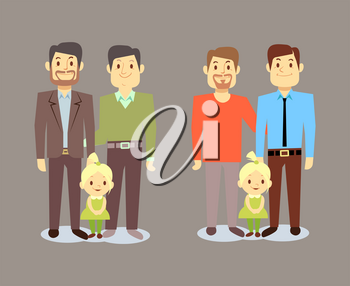 Happy gay LGBT men families with children. Gay family with child. Vector illustration
