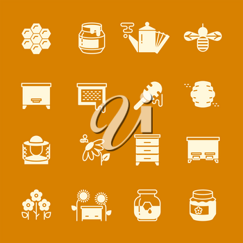 Honey apiary vector icons set. Illustration of natural honey and hive of bee insect