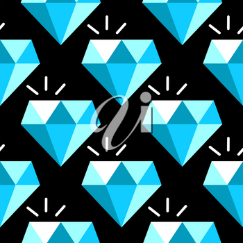 Vector blue diamonds seamless pattern. Background with gem stone illustration