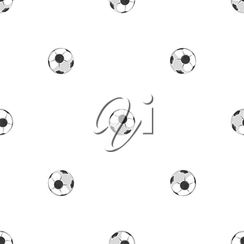 Soccer balls seamless pattern in black and white. Abstract background soccer game, vector illustration