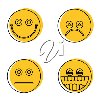 Emoji, emoticons icons in line style isolated on white background. Vector illustration