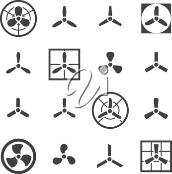Fans, propellers vector icons set. Ventilator and electric cooler with blade illustration