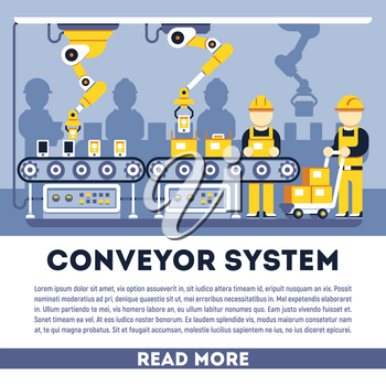 Conveyor system with manipulators vector flat concept. Process production illustration