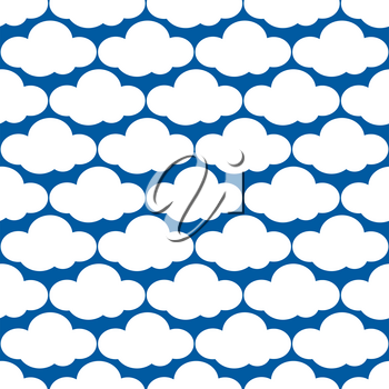 Vector clouds weather seamless pattern. Overcast and heaven background illustration