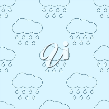 Outline vector rainy clouds seamless pattern. Linear style background illustration