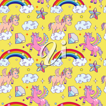 Miracle unicorn wizard seamless background. Cute pony with color rainbow. Vector illustration