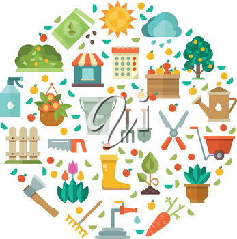 Gardening design with garden tools, vegetable seeds and flowers vector icons. Gardening tool illustration, shovel and ax for work at garden