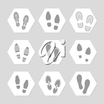 Grey footprints icons - female, male and sport shoe. Vector illustration