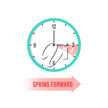 Spring forward. Clock showing daylight saving time. Summer time vector concept. Clock time, change dst on watch illustration