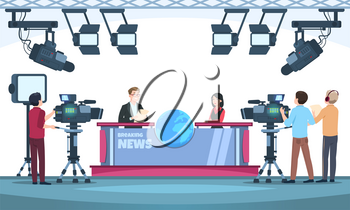 News tv show studio. Presenters broadcasting with cameraman on television. People talking to camera in studio. Vector illustration. Cameraman team , news studio television