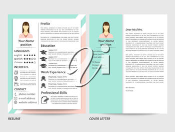 Modern style female resume and cover letter template. Vector illustration