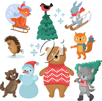 Christmas and winter holiday funny animals vector collection. Christmas animal and snowman illustration