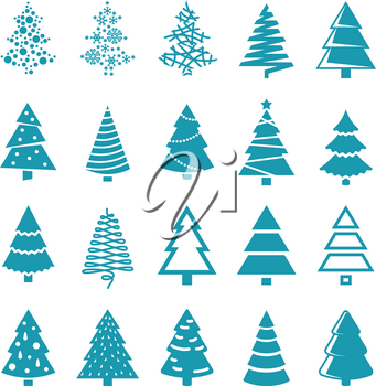 Black silhouette christmas trees vector stylized simple symbols. Set of trees for xmas and new year silhouette monochrome illustration
