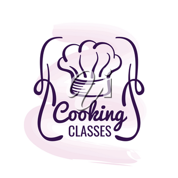 Cooking logo design with watercolor decor - restaurant emblem isolated on white. Vector illustration