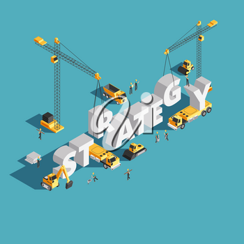 Website marketing strategy creation 3d isometric vector concept with workers and crane. Strategy business isometric illustration