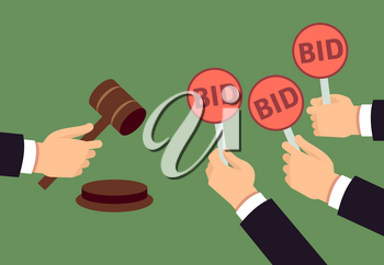 Bidders human arms holding bid paddle and auctioneer hand with gavel. Auction bidding and justice vector concept. Illustration of bidder on auction, hand hold plate with bid