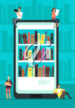 Smartphone with reader app and people reading books. Online book store, library and education vector concept. Illustration of shelf book with literature on phone