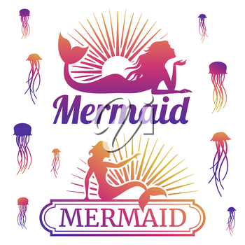 Jellyfishes and mermaid colored silhouettes. Underwater life labels. Vector illustration