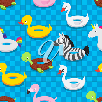 Inflatable animal rubber toys in swimming pool. Swim float rings summer seamless pattern vector illustration