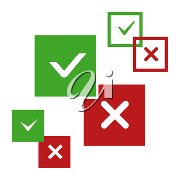 Yes and no, positive and negative vector icons isolated on white illustration