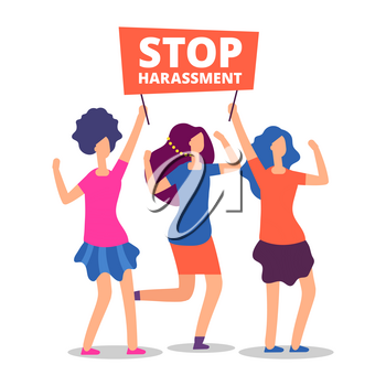 Sexual harassment concept. Stop abuse female demonstrations isolated on white. Vector illustration
