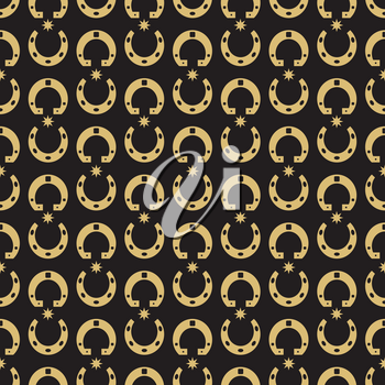 Gold horse shoe and stars seamless pattern background. Vector illustration